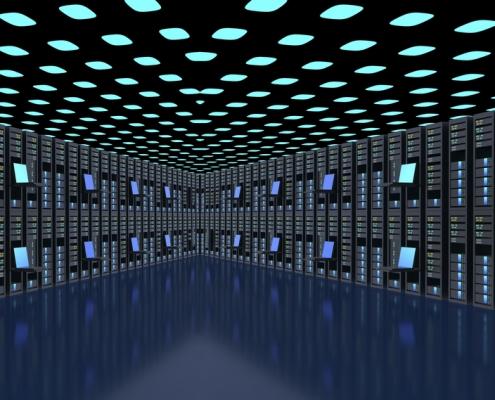 Modern server room interior in datacenter