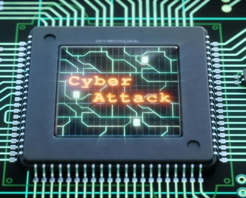 Microchip Close-up With Cyber-Attack Message