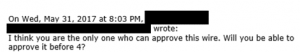 Email 6 - only CEO can approve