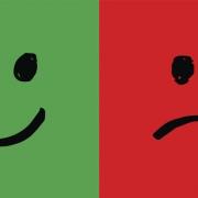 Happy and unhappy smiley faces